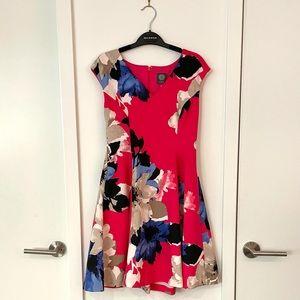 Flirty Bright Pink Floral Swing Dress size 8